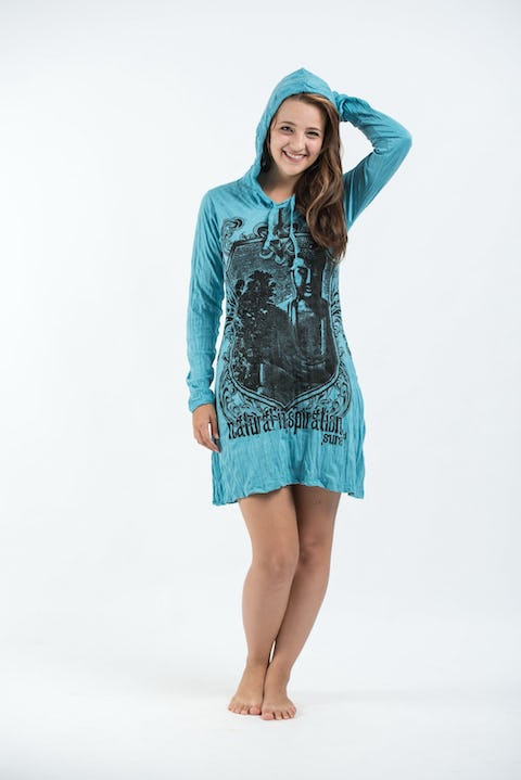 Sure Design Women's Antique Buddha Hoodie Dress Turquoise