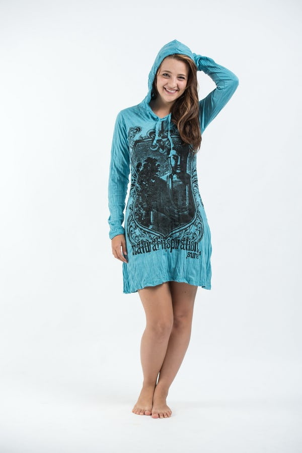 Womens Antique Buddha Hoodie Dress in Turquoise