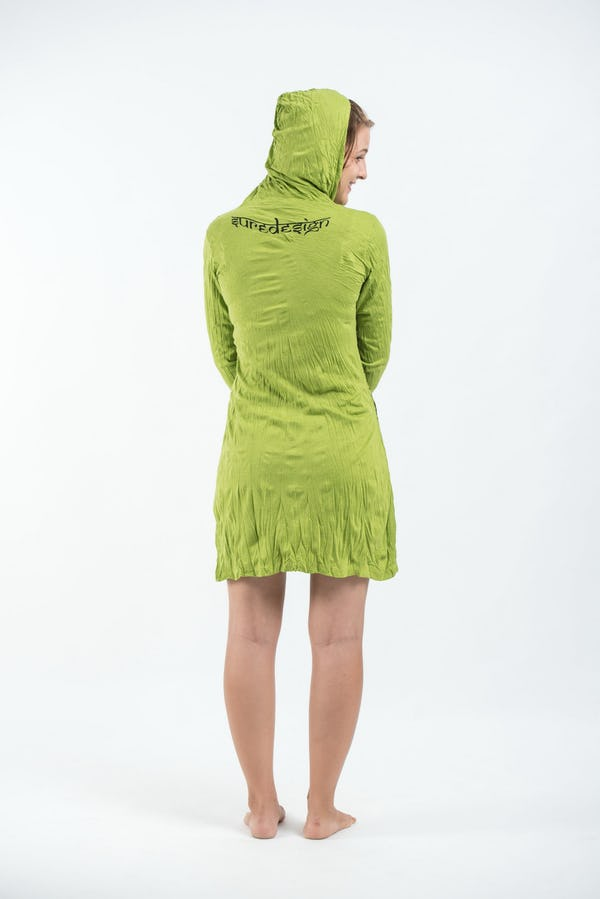 Womens Antique Buddha Hoodie Dress in Lime