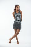 Womens Infinitee Yoga Stamp Tank Dress in Silver on Black
