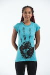 Sure Design Womens  T-Shirt Eye In Palm Turquoise
