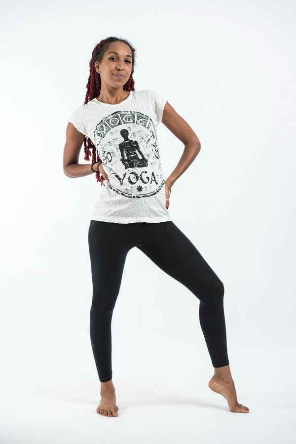 Sure Design Womens Infinitee Yoga Stamp T-Shirt White