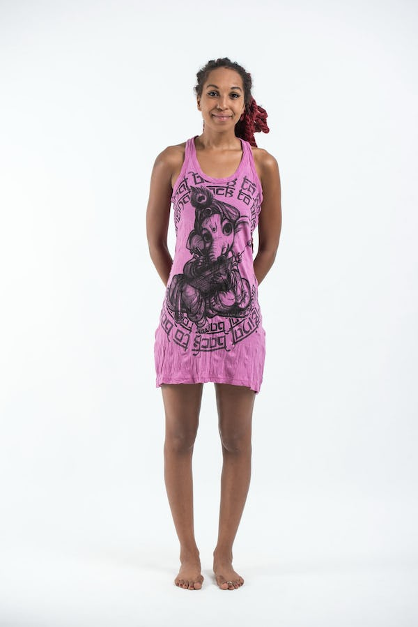 Sure Design Womens Baby Ganesh Tank Dress Pink