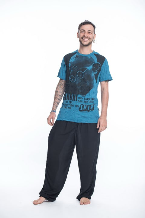 Sure Design Mens Gandhi T-Shirt Denim Blue