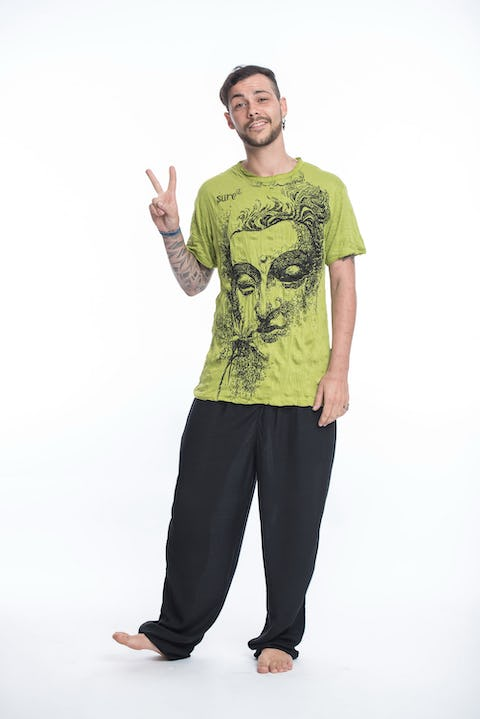 Sure Design Mens Buddha Face T-Shirt Lime