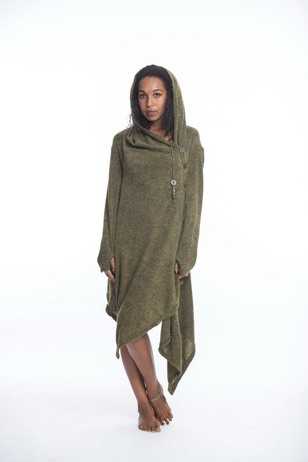 Hoodie Shawl With Side Button in Green