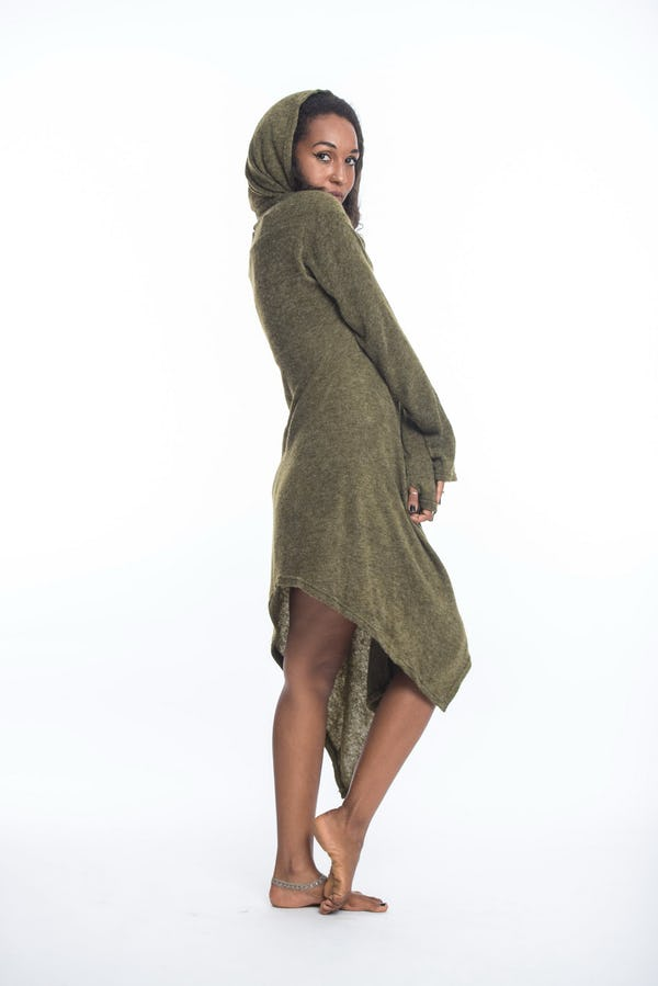 Hooded Pixie Sweater Dress in Green