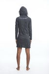 Sure Design Womens Tree of Life Hoodie Dress Silver on Black