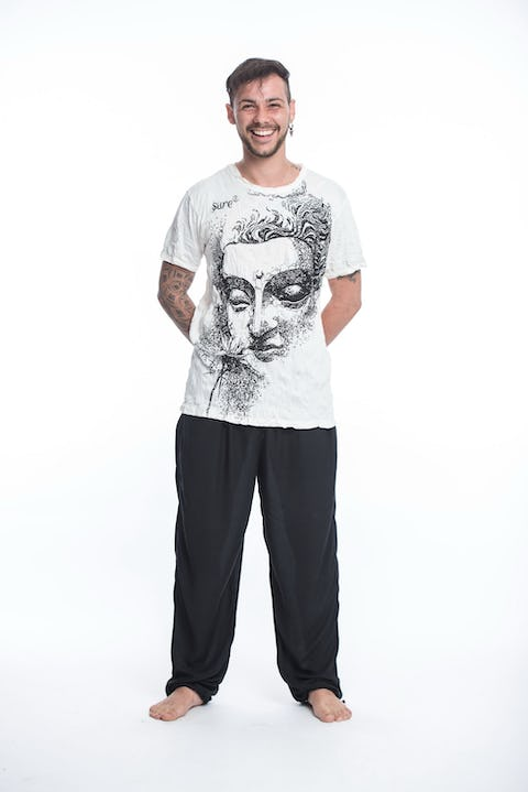 Sure Design Mens Buddha Face T-Shirt White