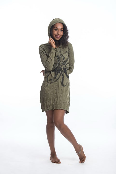 Sure Design Womens Octopus Hoodie Dress Green