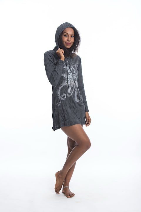 Sure Design Womens Octopus Hoodie Dress Silver on Black