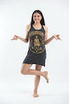 Sure Design Womens Infinitee Yoga Stamp Tank Dress Gold on Black