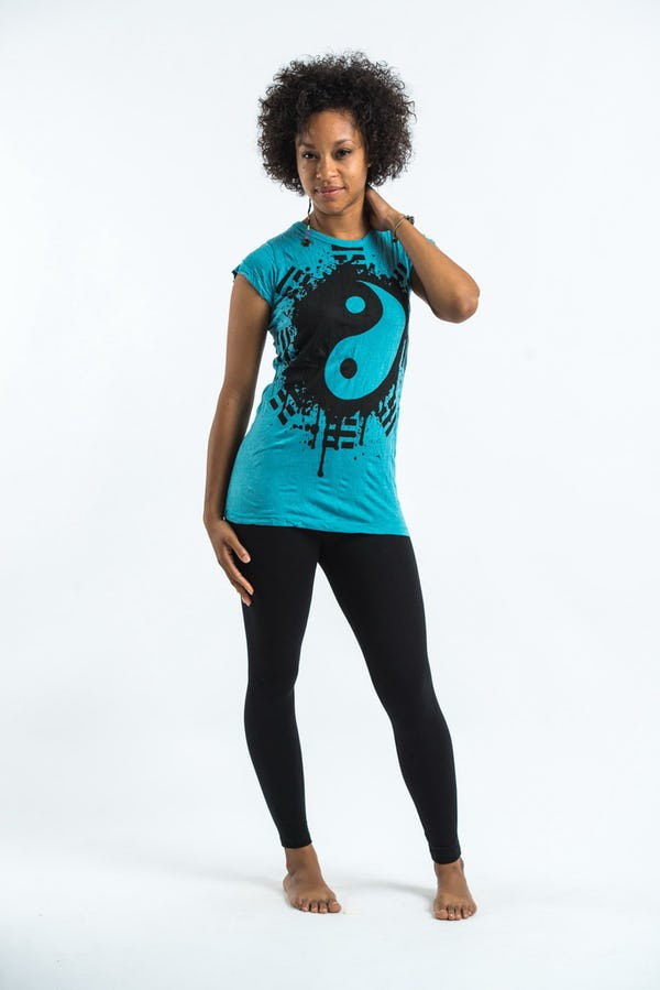 Sure Design Womens Ying Yang T-Shirt Turquoise