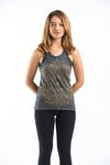 Sure Design Womens Lotus Mandala Tank Top Gold on Black