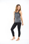 Sure Design Womens Lotus Mandala Tank Top Silver on Black