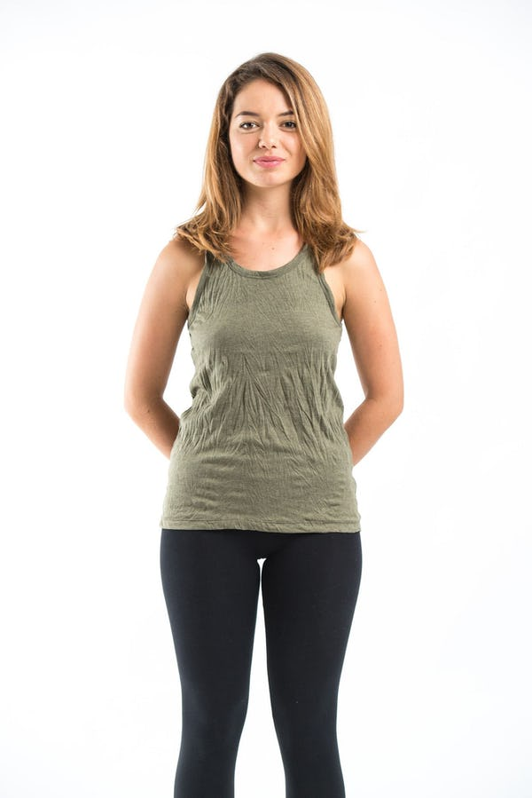 13b446604cfd2 Sure Design Womens Solid Tank Top Olive