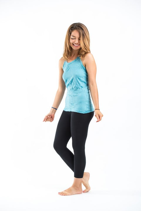 Womens Solid Color Tank Top in Turquoise