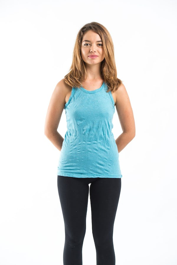 Sure Design Womens Solid Tank Top Turquoise