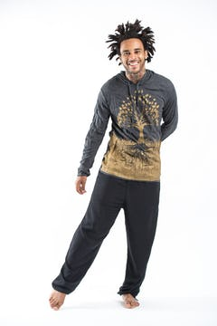 Plus Size Men's Tree of Life T-Shirts Gold on Black