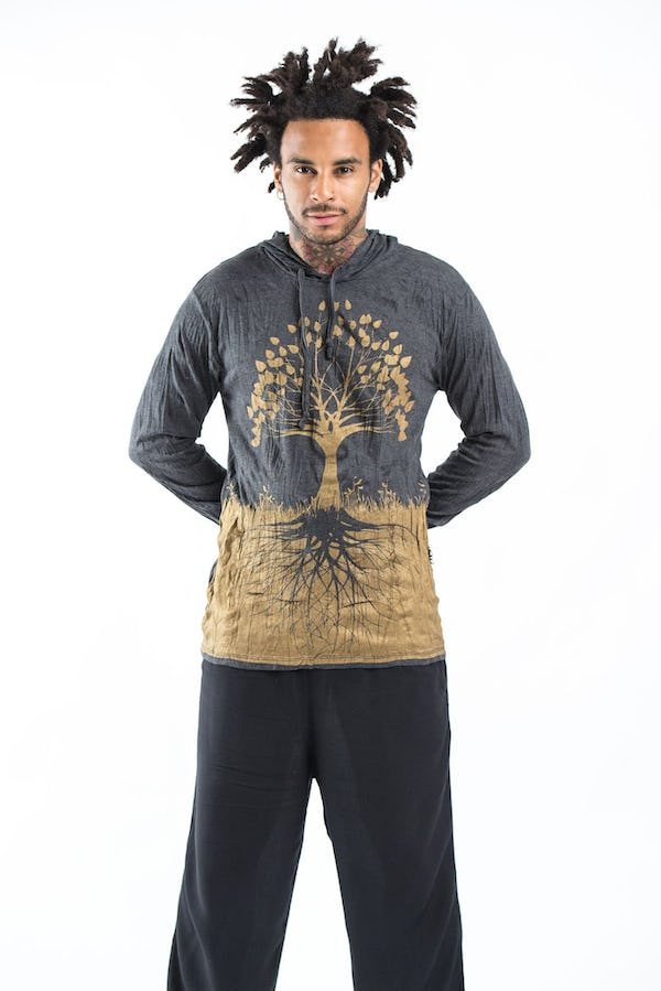 Sure Design Unisex Tree of Life Hoodie Gold on Black