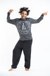 Sure Design Unisex Infinity Yoga Hoodie Silver on Black