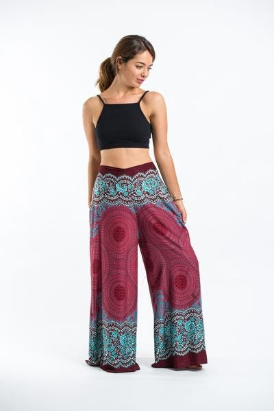 Geometric Mandalas Palazzo Style Harem Pants in Red
