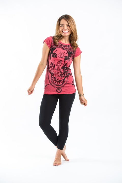 Womens Big Face Ganesh T-Shirt in Red