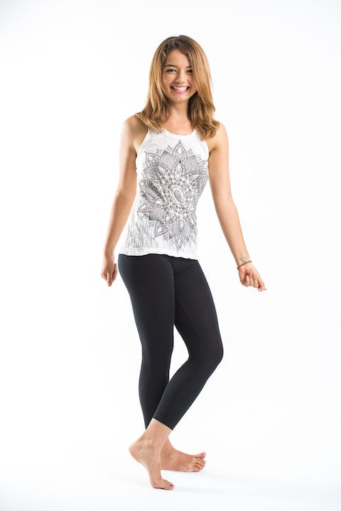 Sure Design Womens Lotus Mandala Tank Top White