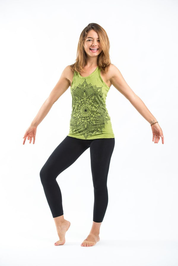 Sure Design Womens Lotus Mandala Tank Top Lime