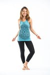 Sure Design Womens Lotus Mandala Tank Top Turquoise