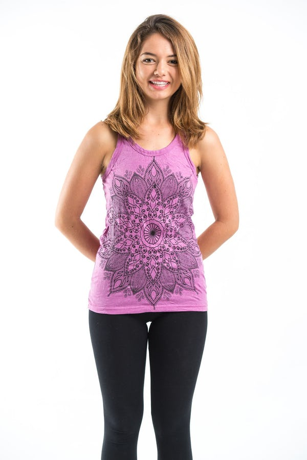 Sure Design Womens Lotus Mandala Tank Top Pink