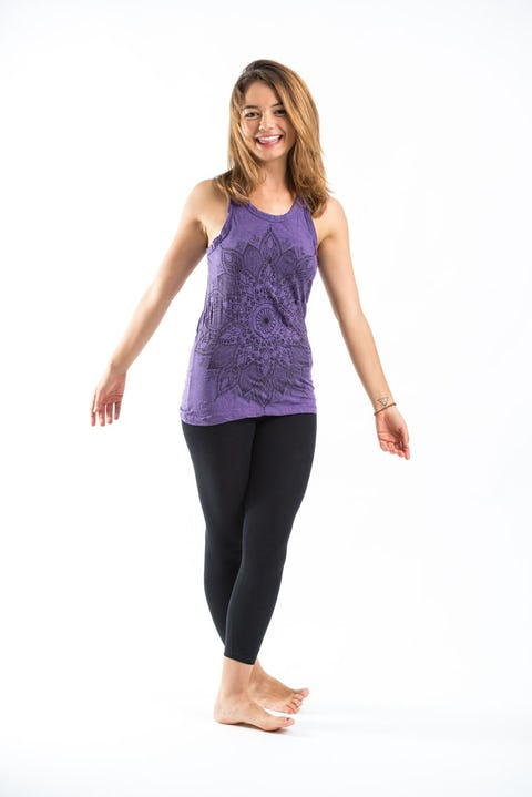 Sure Design Womens Lotus Mandala Tank Top Purple