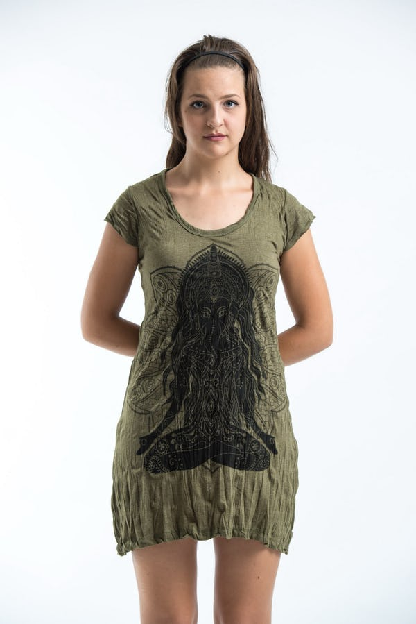 Sure Design Womens Ganesh Mantra Dress Green