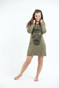 Sure Design Womens Chakra Fractal Hoodie Dress Silver on Black