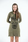 Sure Design Womens Tribal Skull Hoodie Dress Green