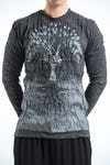 Sure Design Unisex Tree Of Life Long Sleeve Shirt Silver on Black