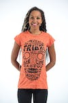 Sure Design Womens Tribal Skull T-Shirt Orange