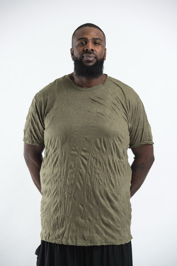 Plus Size Men's Solid T-Shirt Green