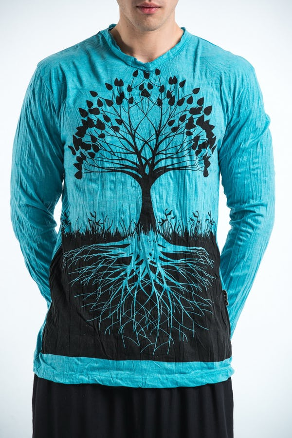 Sure Design Unisex Tree Of Life Long Sleeve Shirts Turquoise