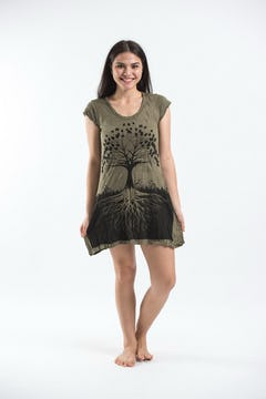 Sure Design Womens Big Face Ganesh Tank Dress Lime