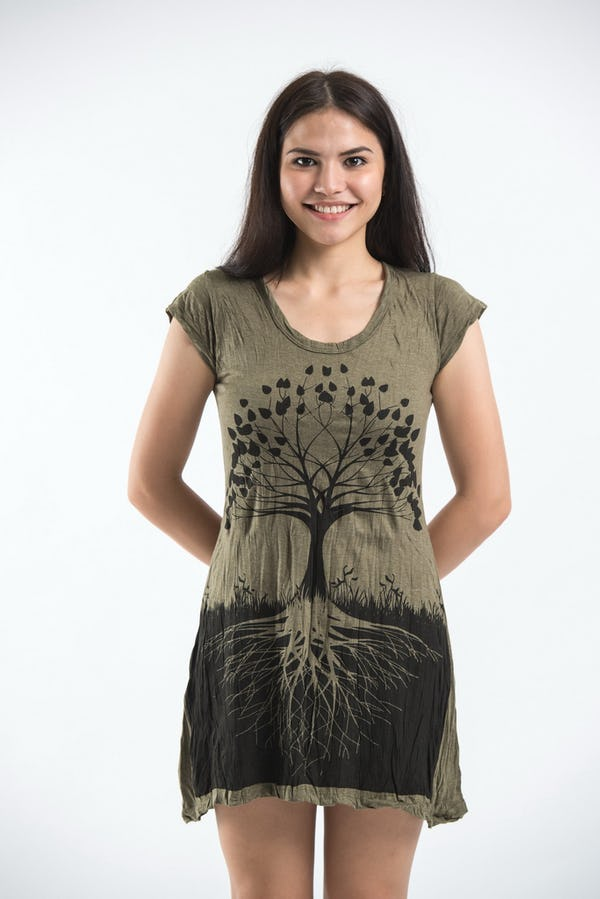 Sure Design Womens Tree of Life Dress Green