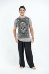 Sure Design Mens Trippy Skull T-Shirt Gray