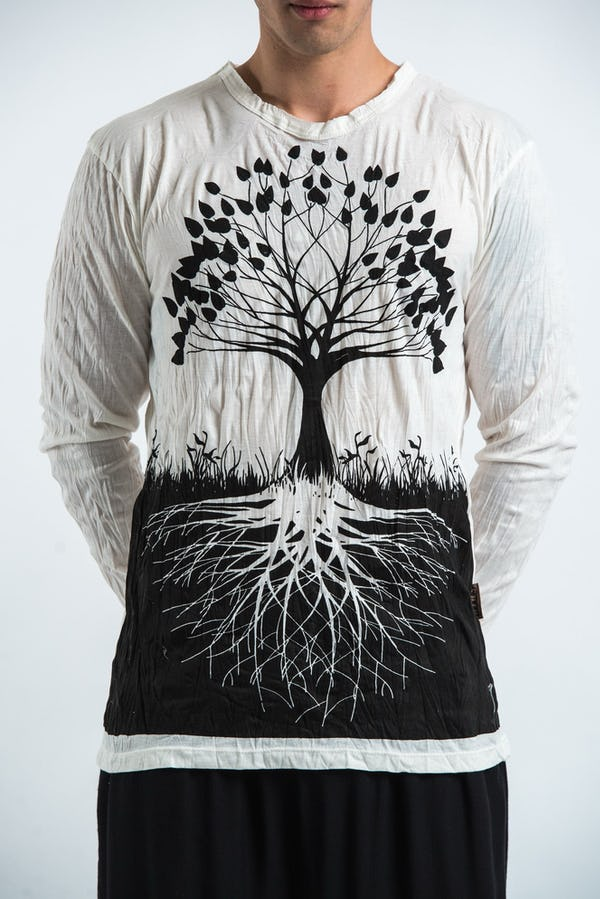 Sure Design Unisex Tree Of Life Long Sleeve Shirts White