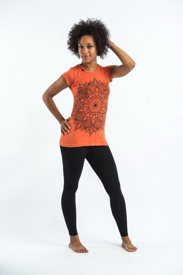 Sure Design Womens T-Shirt Lotus Mandala Orange