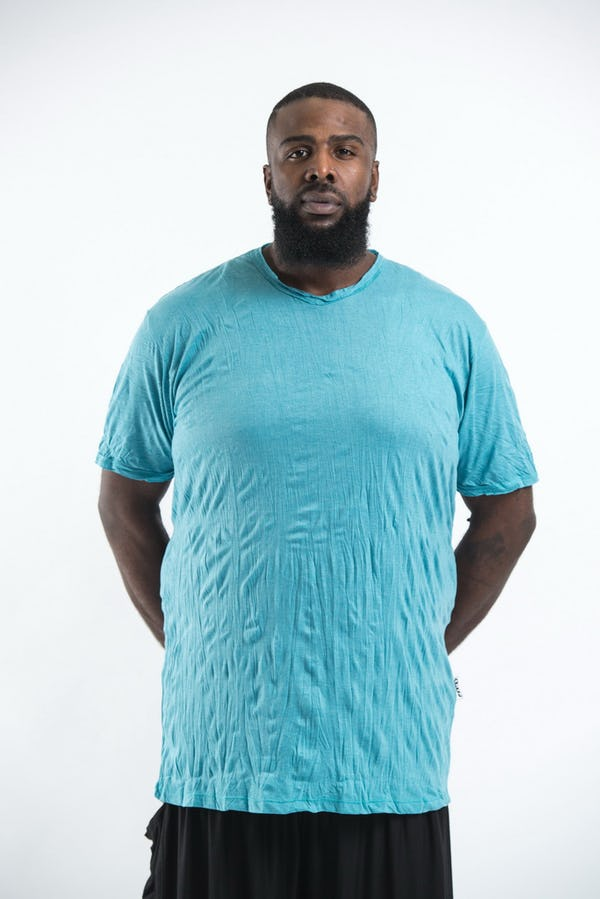 Plus Size Men's Solid T-Shirt Turquoise