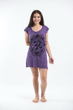 Girls Children's Tie Dye Cotton Dress With Beads Purple