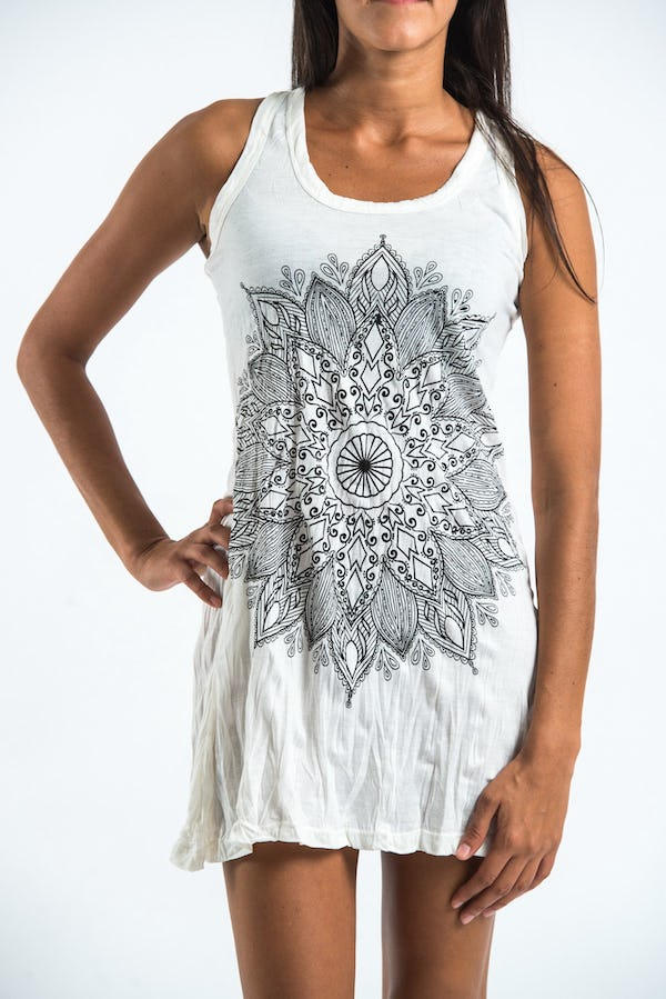 Sure Design Womens Lotus Mandala Tank Dress White