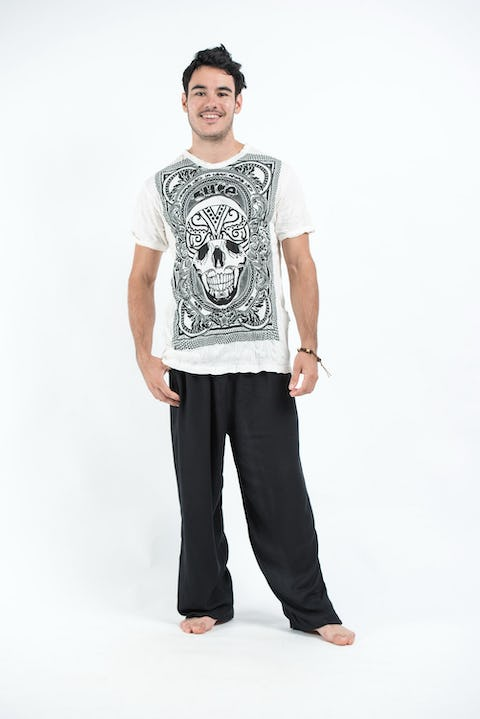Sure Design Mens Trippy Skull T-Shirt White