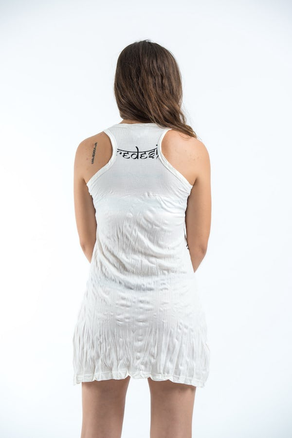 Sure Design Womens Ohm hands Tank Dress White