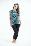 Womens Trippy Skull T-Shirt in Turquoise